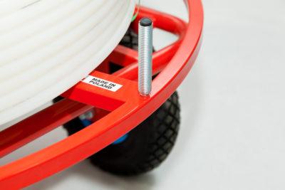 Rozwijak Nr 18 - do rur PERT, PEX, 200 - 600m. Ogrzewanie podłogowe. Koła gumowe pompowane 26cm.