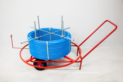 Rozwijak Nr 5 - do rur HDPE, PE. Koła gumowe pompowane 26 cm.