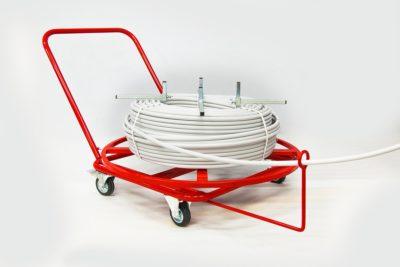 Rozwijak Nr 10 - do rur PERT, PEX, 200 - 400m. Ogrzewanie podłogowe. Koła gumowo stalowe.